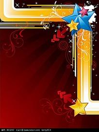红色背景花纹五角星边框素材