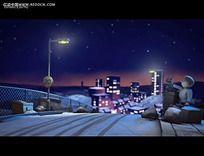 卡通城市夜景3D动画视频