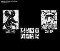 卡通动物黑白画视频