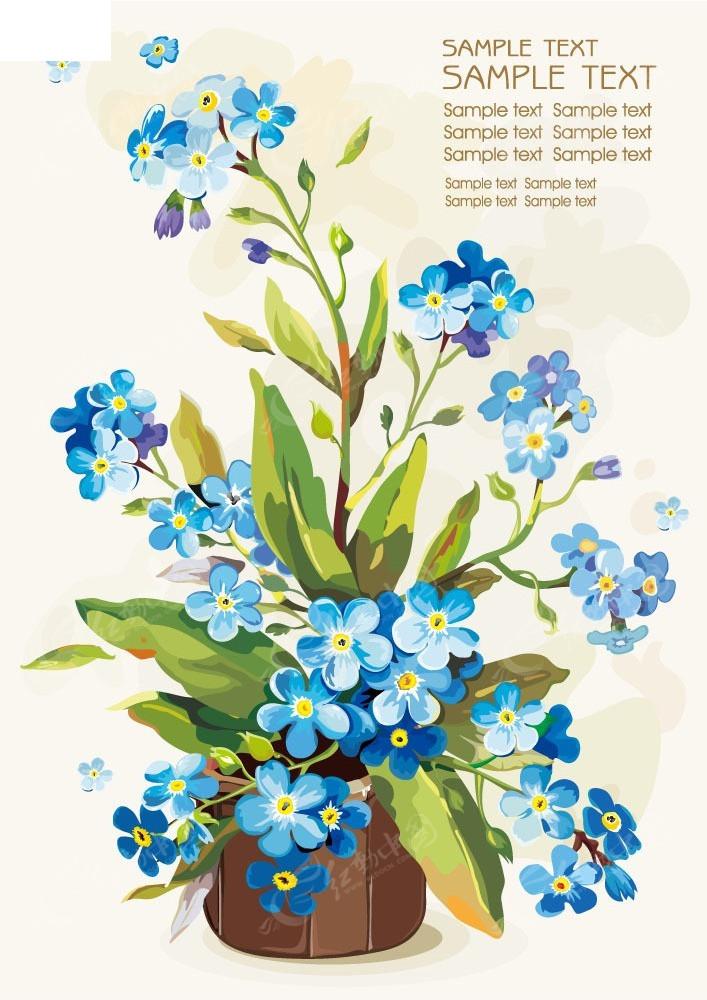 手绘花盆插画背景素材图片