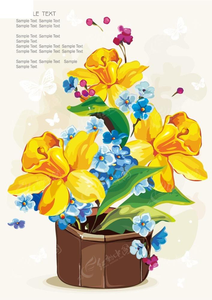 手绘花盆花朵图形背景图片