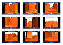 橙色立体光效建筑物视频