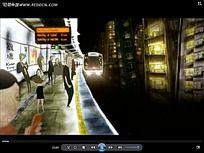 动画地铁站场景视频
