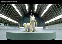 3D立体独角兽视频