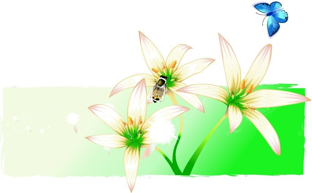 花朵蝴蝶蜜蜂矢量背景素材