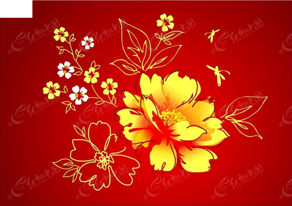 底纹背景 金色手绘花纹图案  请您分享: 红动网提供底纹背景精美素材