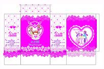 卡通心形花纹背景喜糖包装设计
