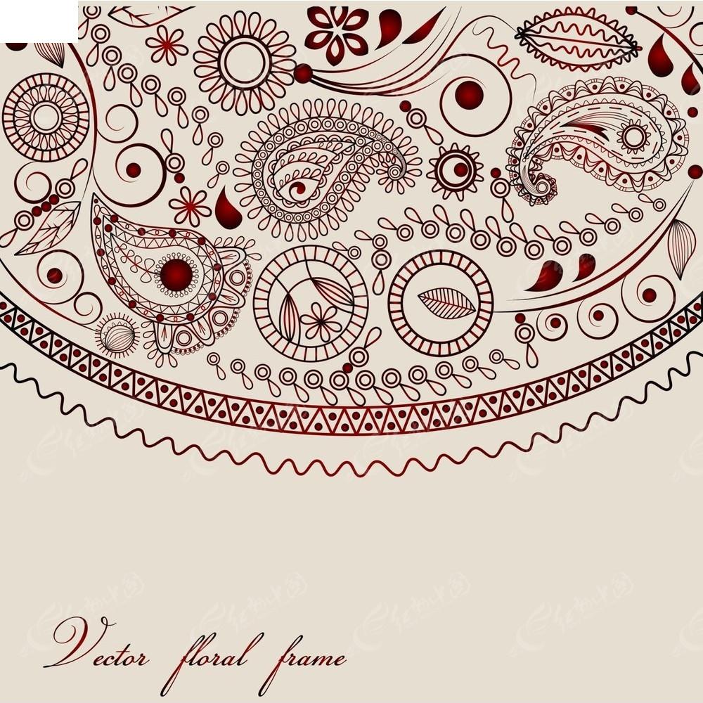 手绘淡红色花纹背景