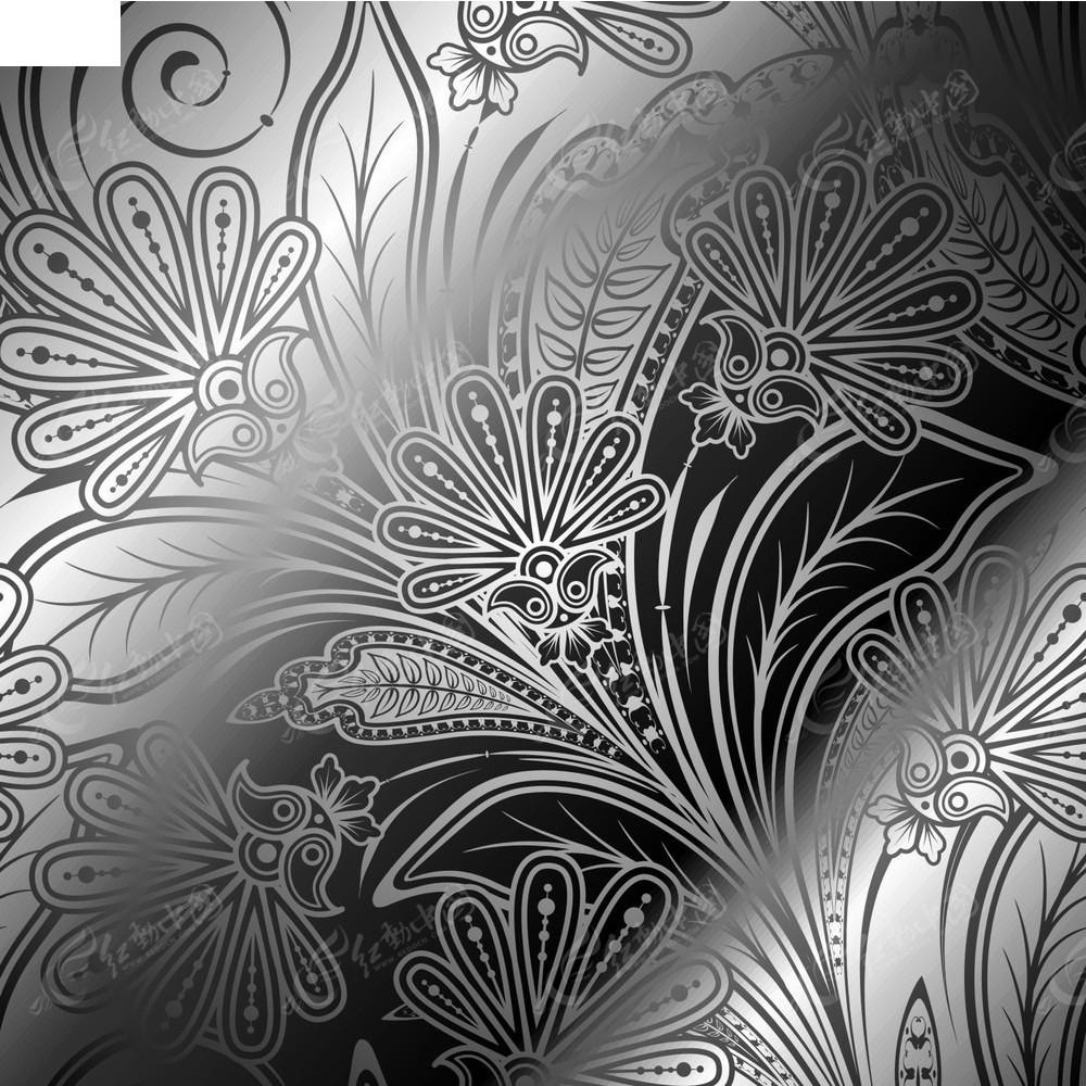手绘花纹花枝背景素材