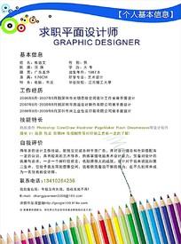 艺术笔头背景平面设计师求职简历