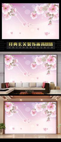 3D立体背景墙之海棠花