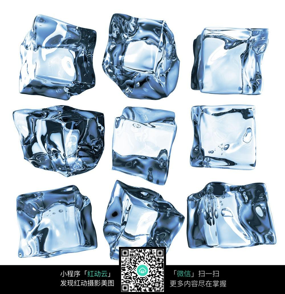 蓝色冰块高清图片素材