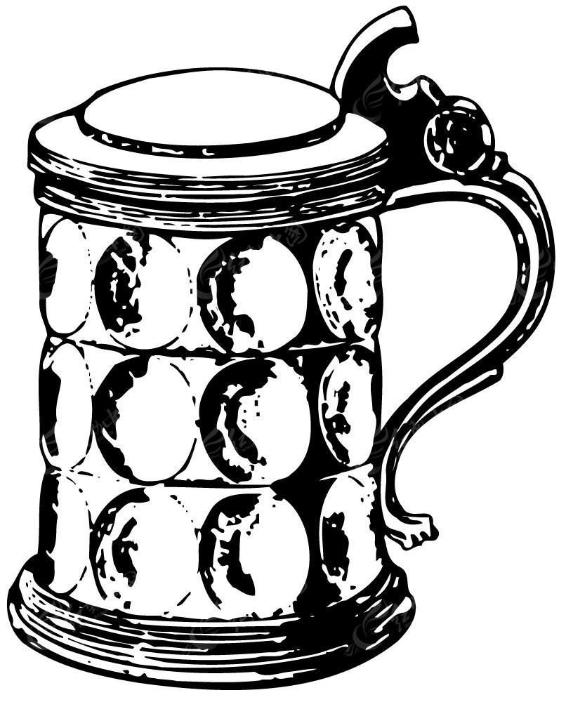 美食线描图-杯子 简笔画