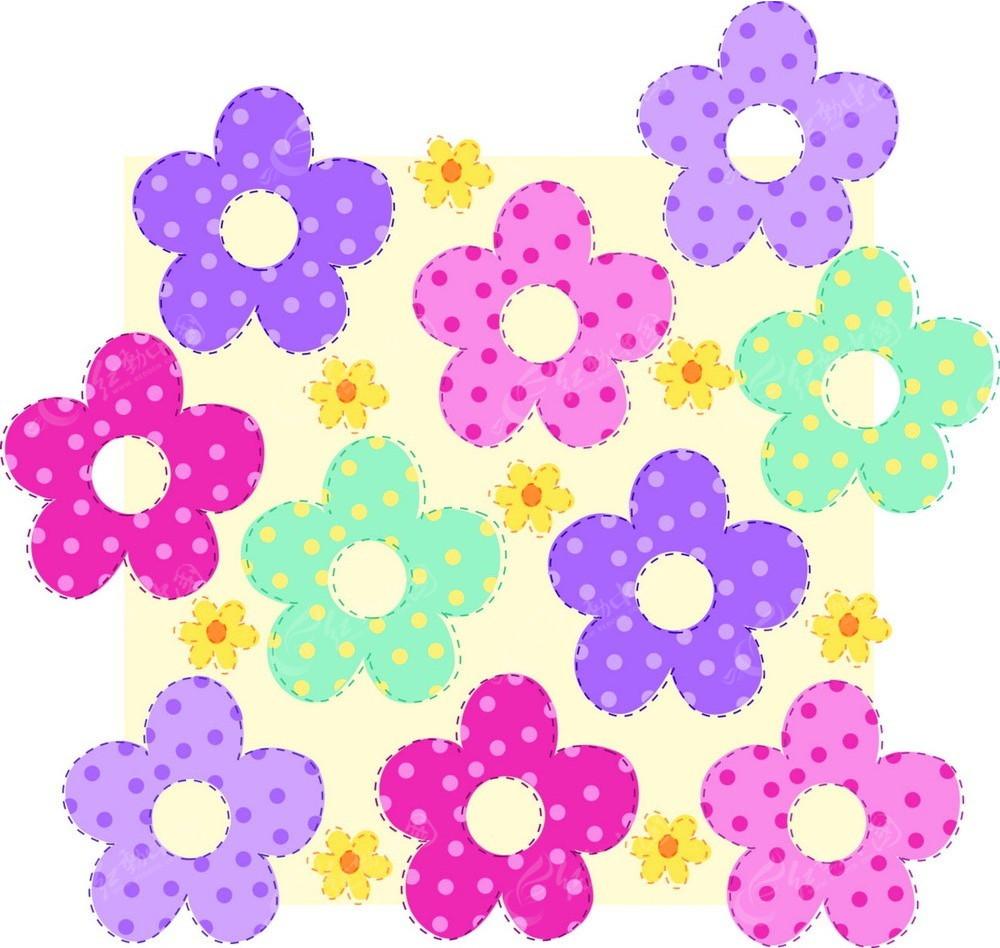 免费素材 矢量素材 花纹边框 花纹花边 彩色卡通花朵花纹矢量