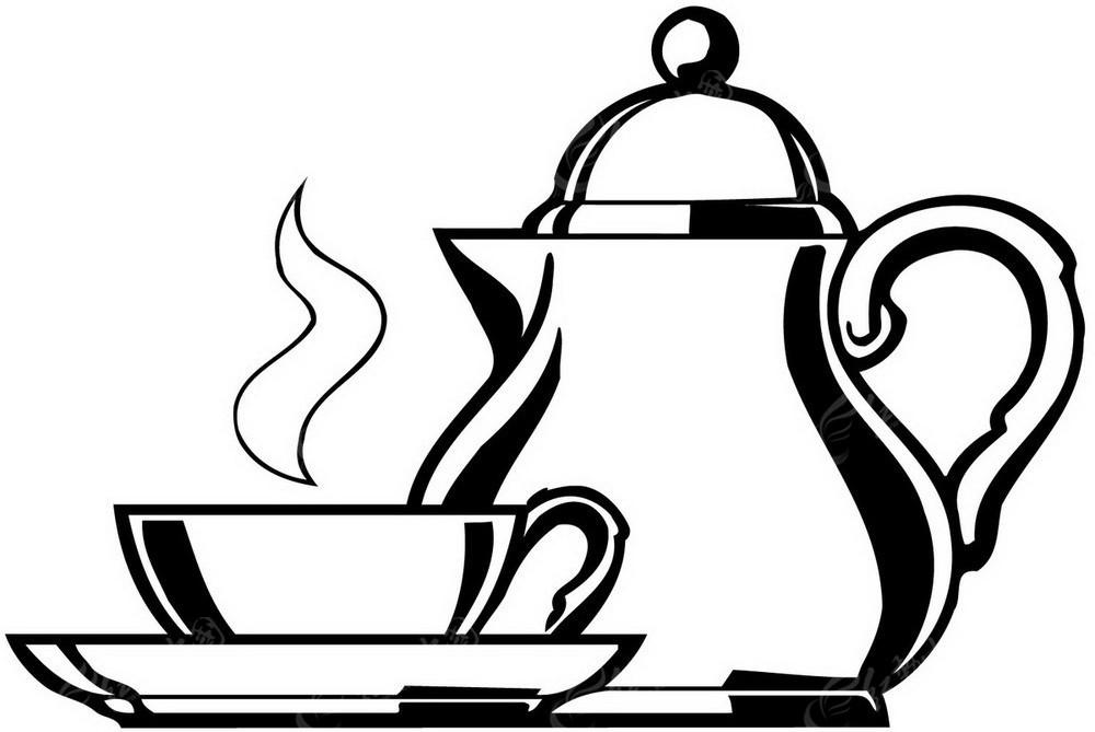 茶茶壶矢量手绘黑白图形