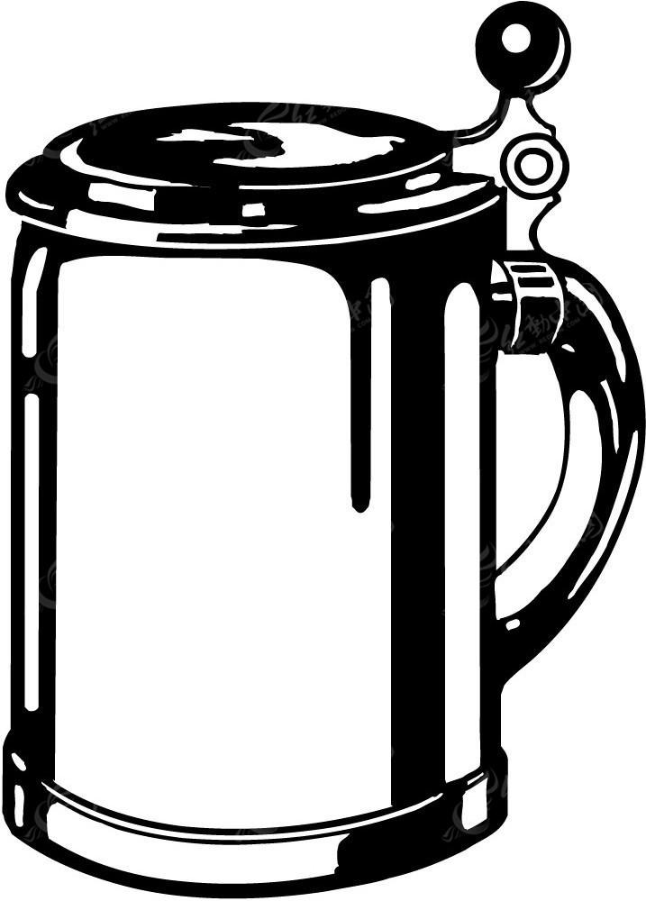 茶壶手绘黑白图像