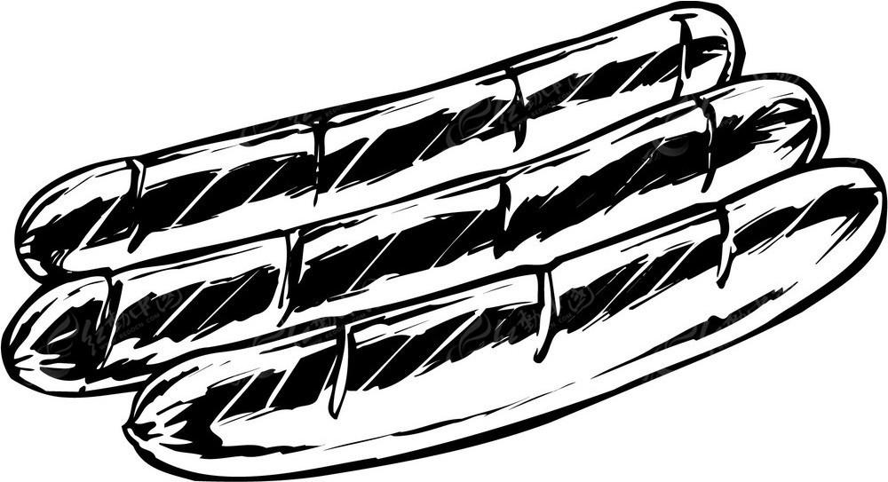 长条面包手绘线描图形