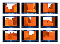 橙色立体建筑视频