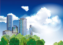 城市建筑蓝天白云树木矢量背景图像