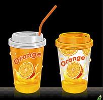 橙汁饮料杯包装设计