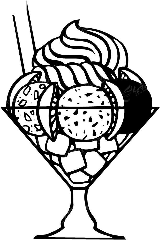 果味冰激凌手绘线描图形