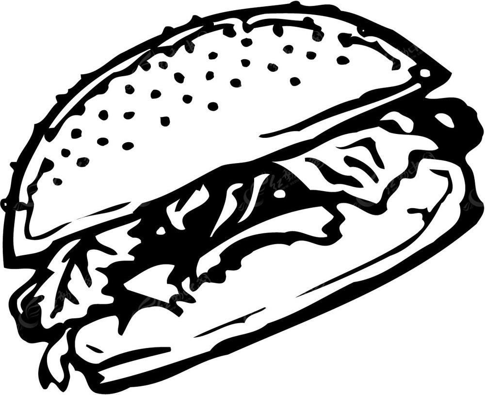 汉堡矢量黑白线描图