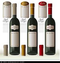红酒瓶红酒包装矢量素材