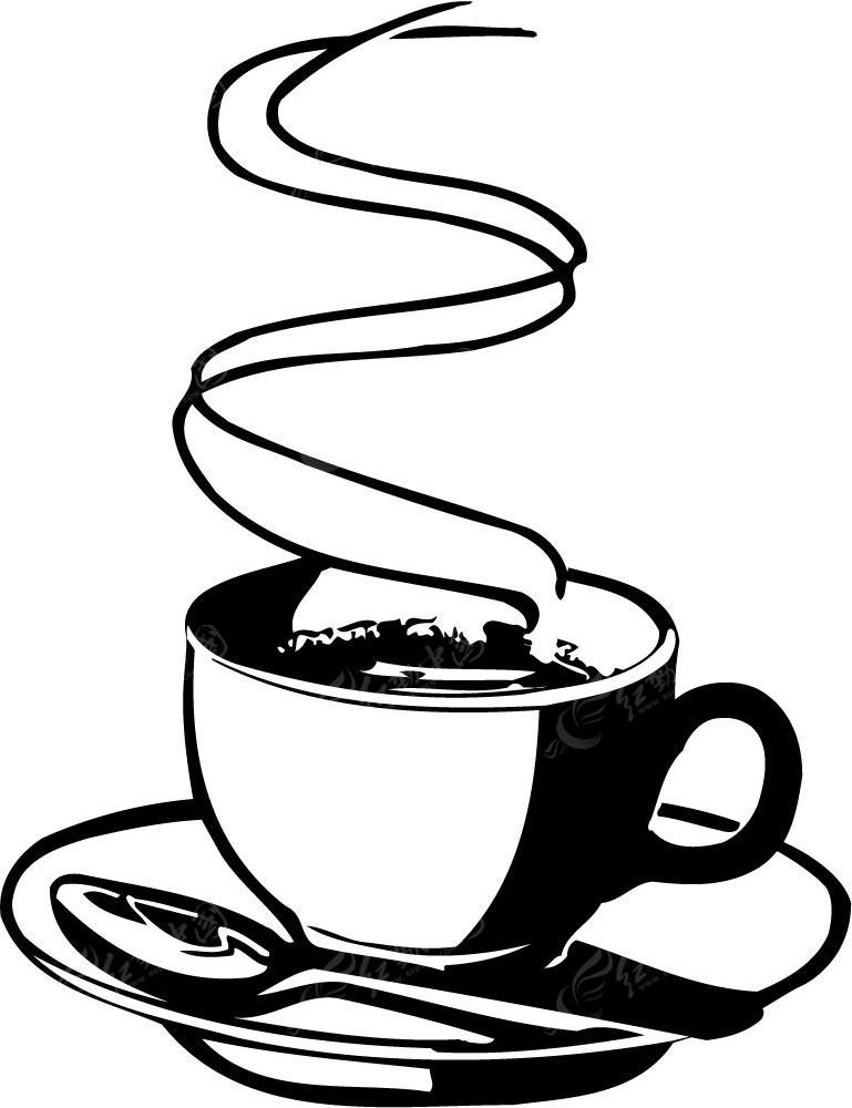 咖啡杯勺子手绘图形