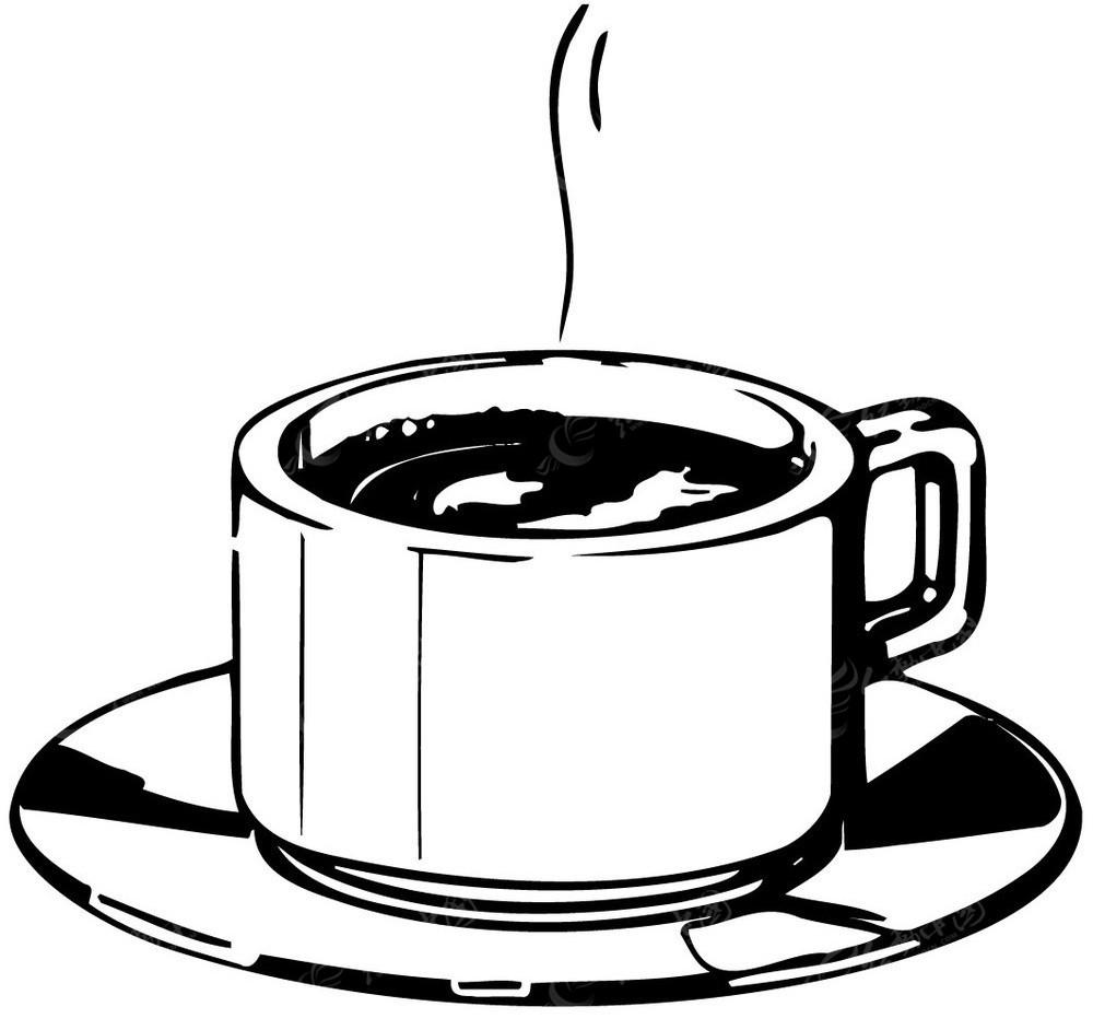 咖啡咖啡杯手绘线描图形