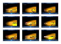 卡通黄色跑车光效视频