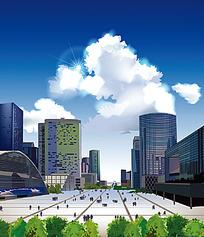蓝天白云城市建筑广场背景图