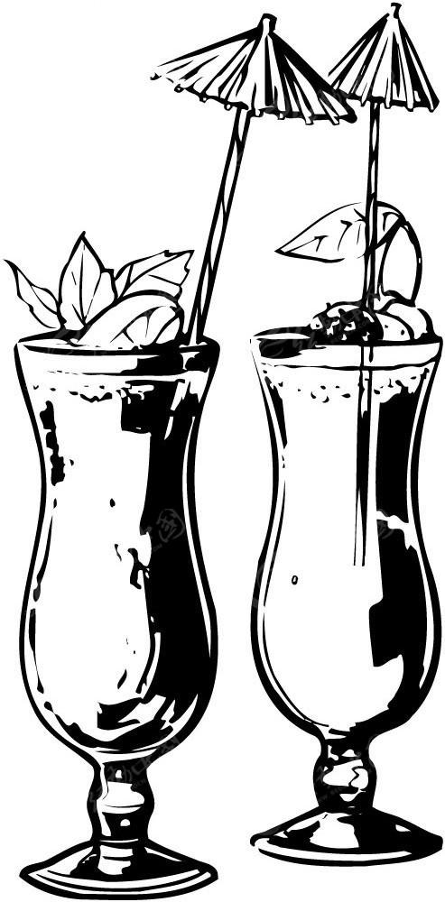 冷饮手绘线描图形