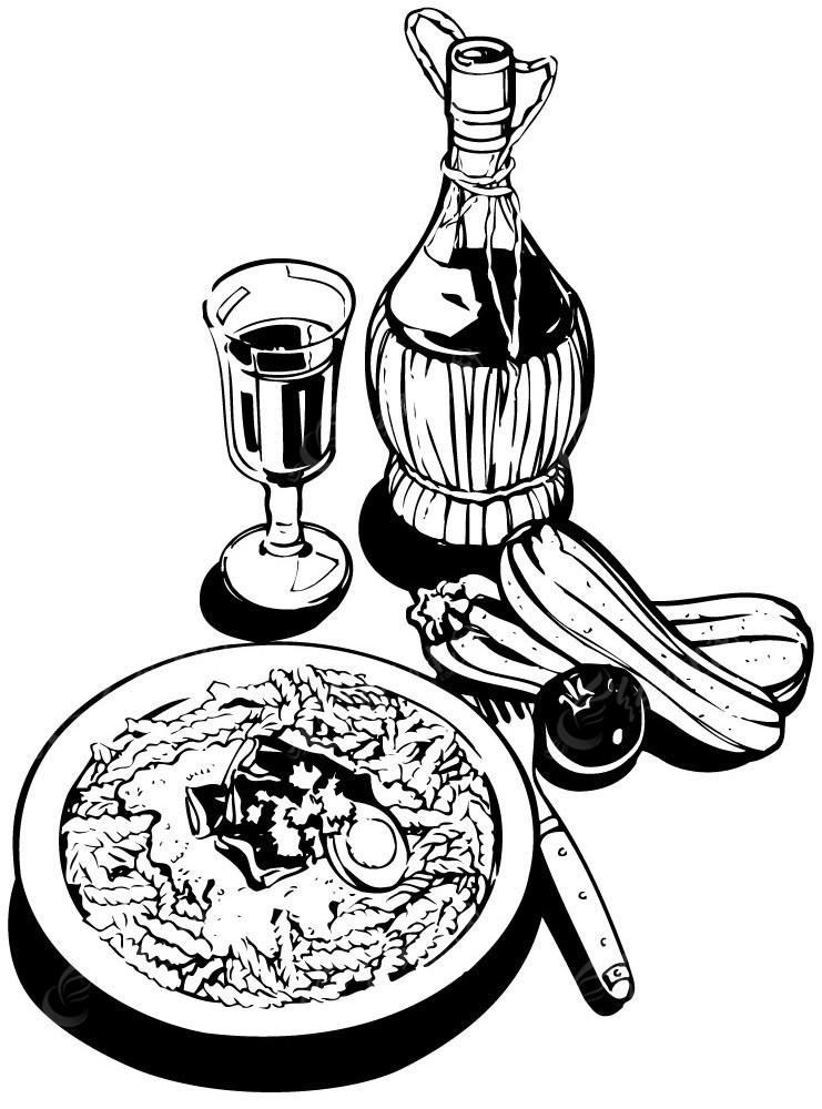 美食红酒手绘线描图形
