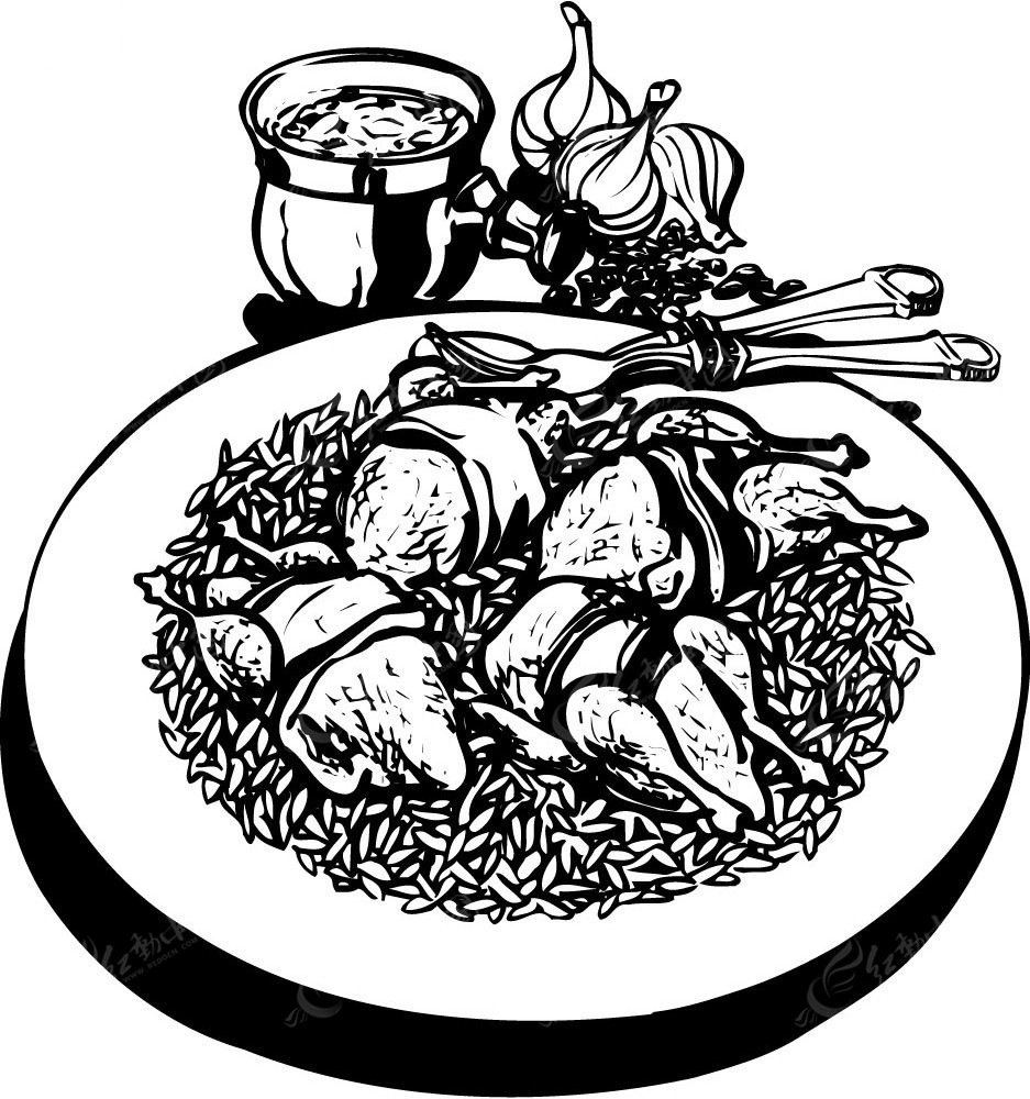 美食手绘黑白图像