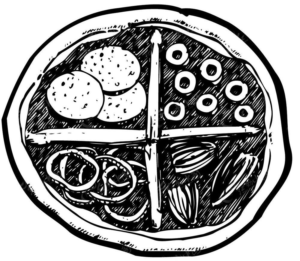 披萨手绘线描图形