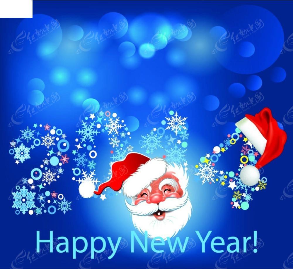 圣诞老人帽子图形2014年新年背景素材图片