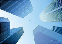 仰视的城市高楼建筑矢量图形