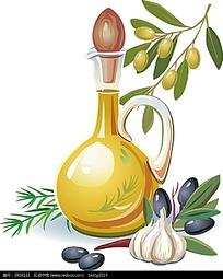 橄榄油蒜头矢量图形