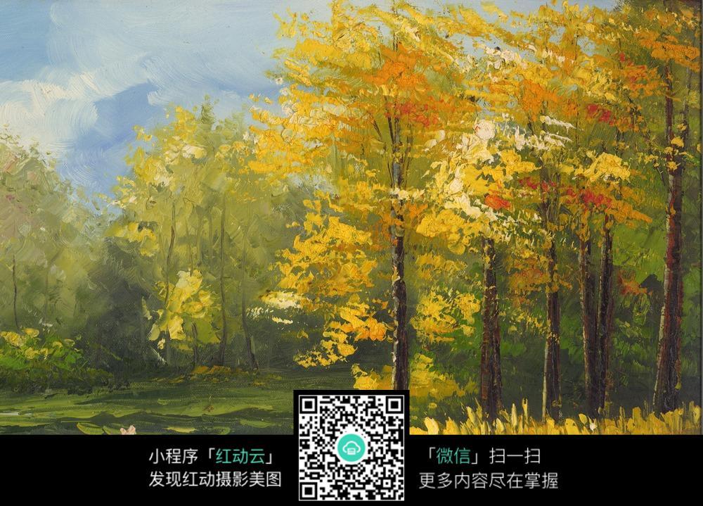 秋天彩色风景油画