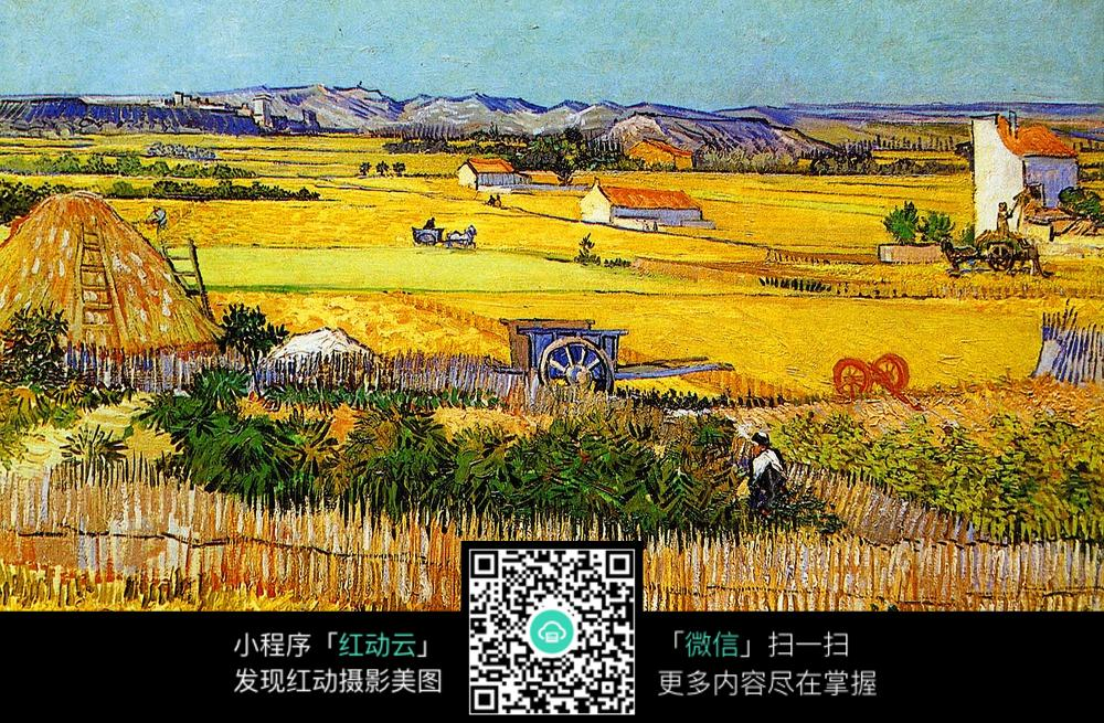 秋天的农场油画素材图片
