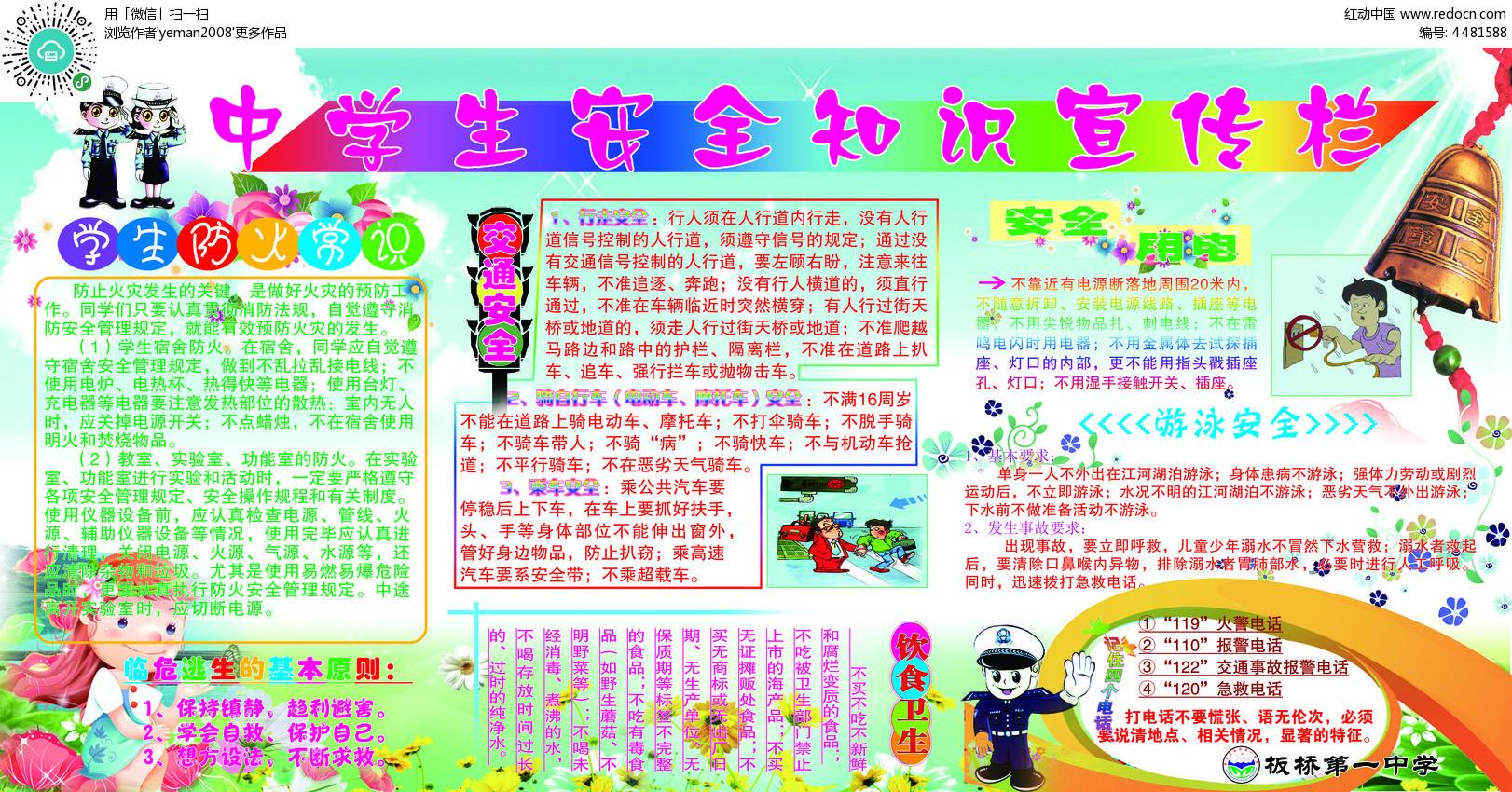 中学生安全知识宣传画展板源文件