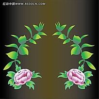 彩色花朵树叶图案