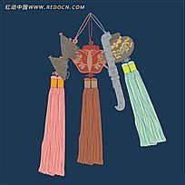 传统彩色香囊图样花纹