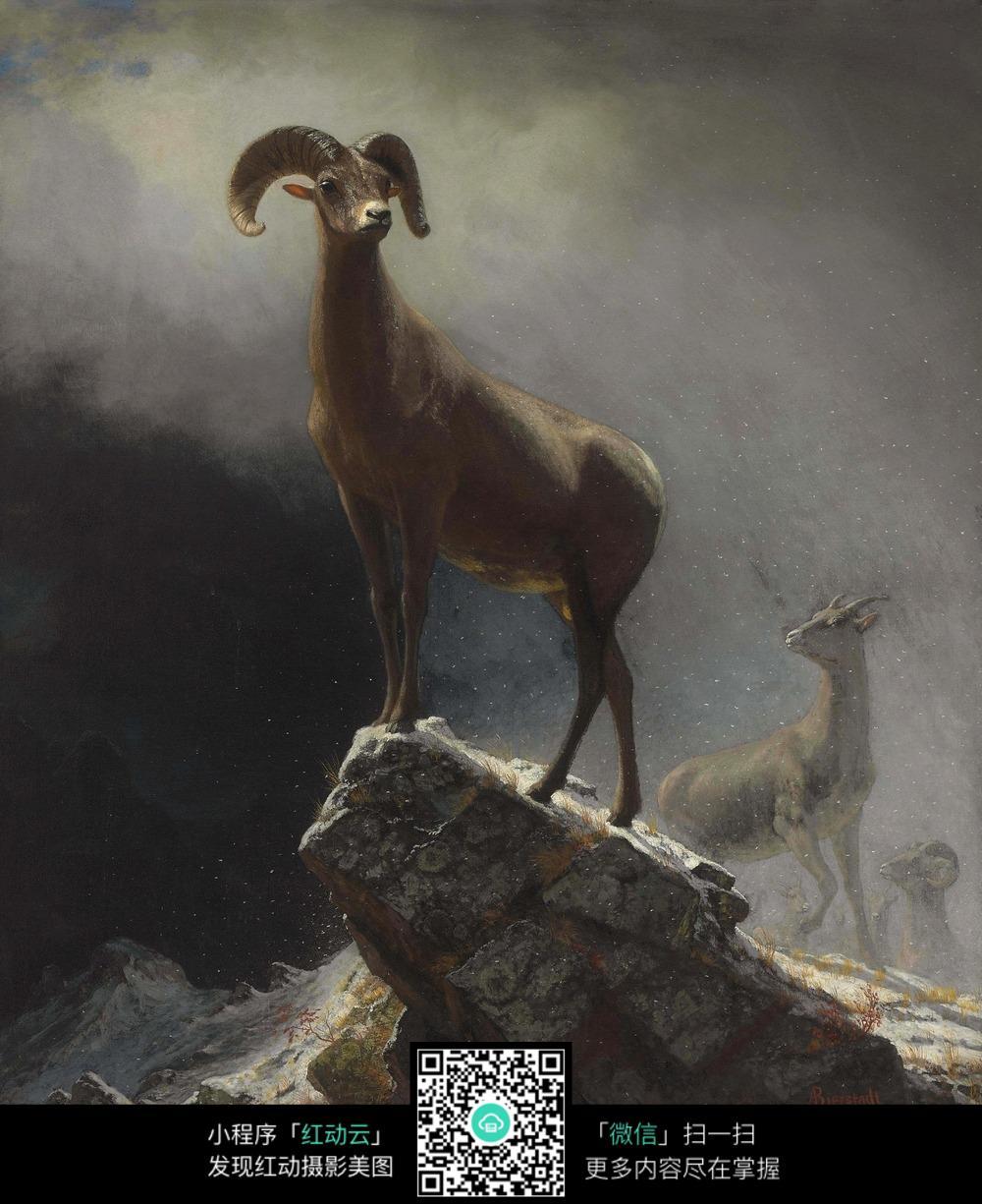 公羊立峭壁油画