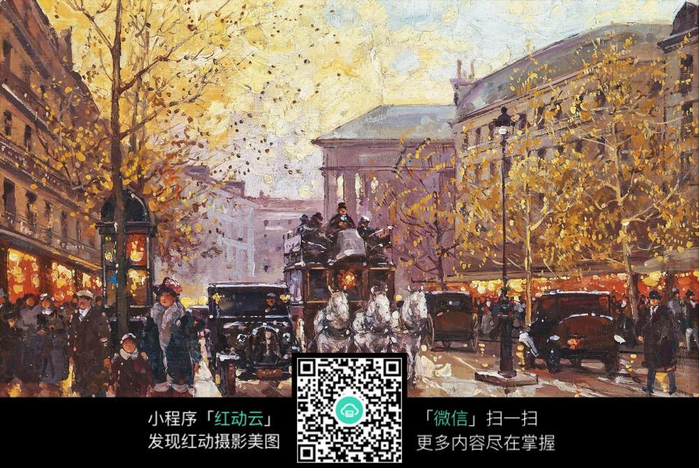 国外街头马车风景画