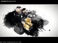 国外警察警犬泼墨合成视频