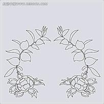 黑白树叶花朵线稿