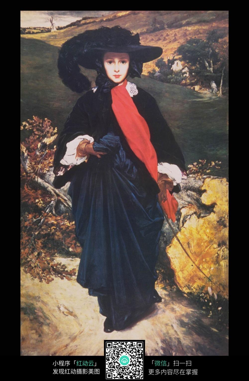 黑衣贵妇 田园风景 古典人物画 国外装饰画 手绘油画 古典油画 高清
