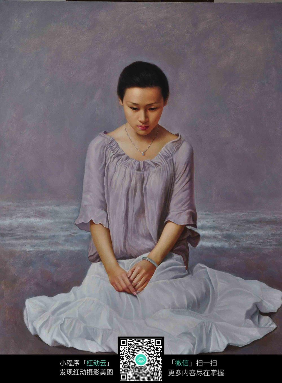 娴静少女人物肖像画