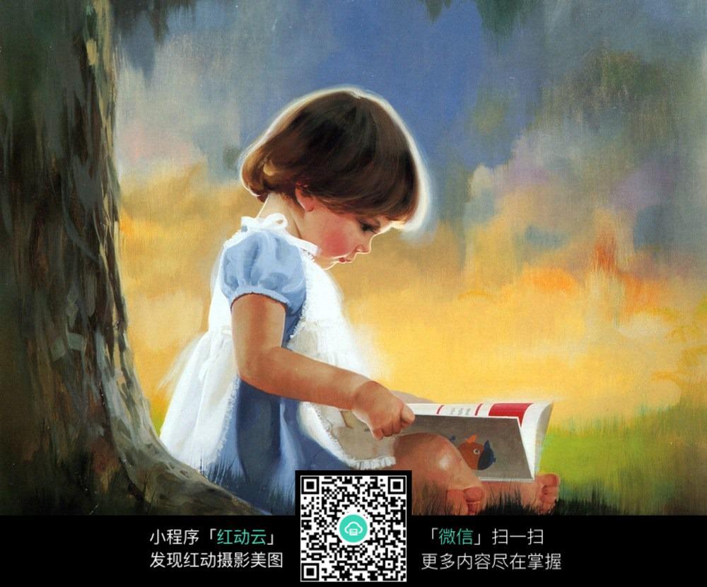 看书小女孩 树干 古典人物画